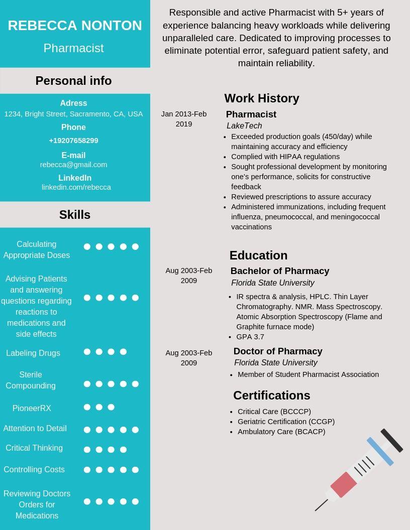 pharmacist resume samples  u0026 templates  pdf word  2019