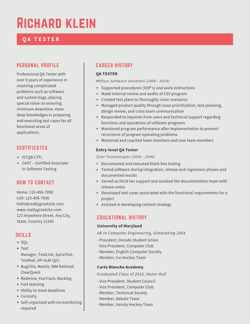 Qa Tester Resume Samples Amp Templates Pdf Word 2019 Qa