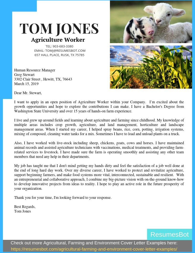 Agriculture Cover Letter Samples Amp Templates Pdf Word