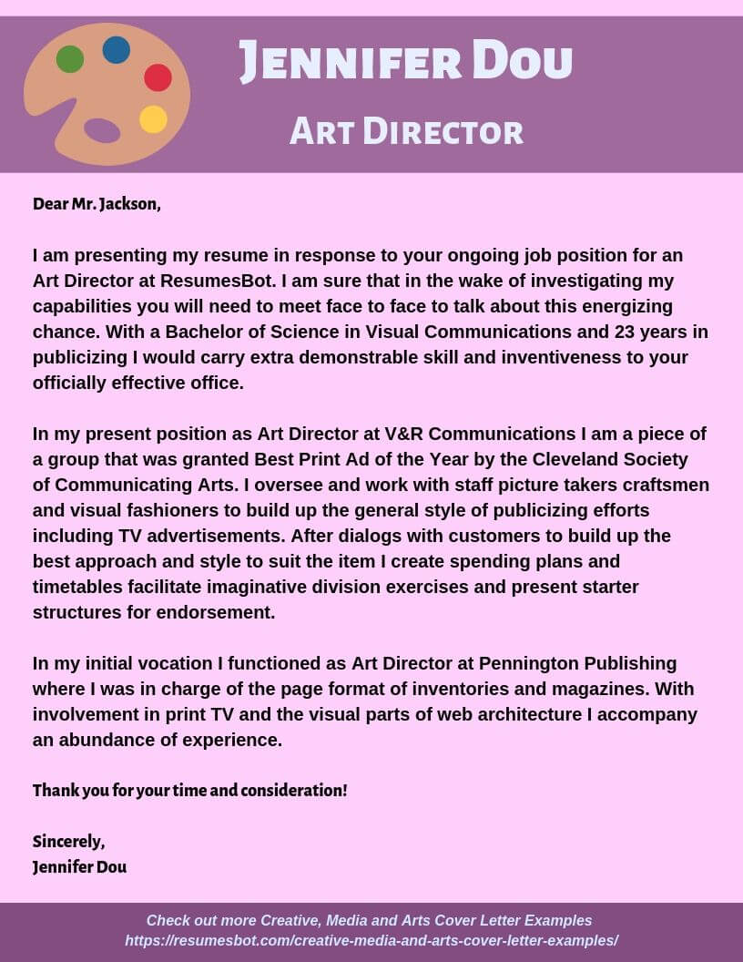 Art Director Cover Letter Example