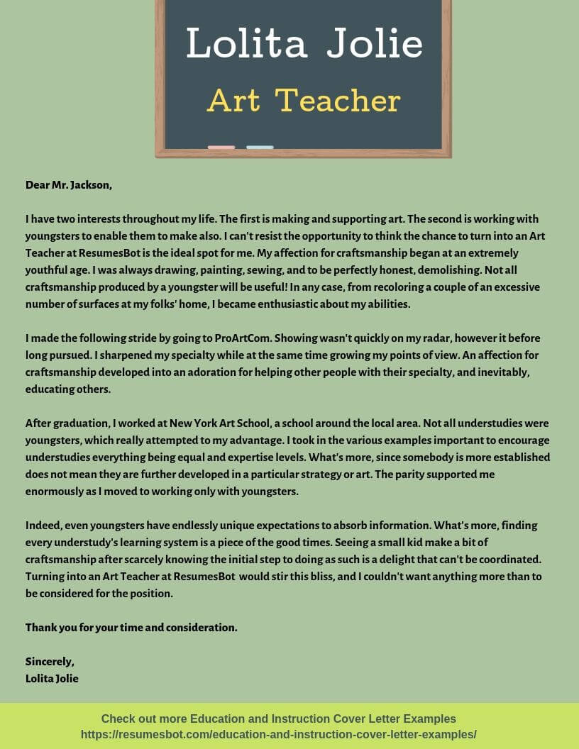 Art Teacher Cover Letter Sample