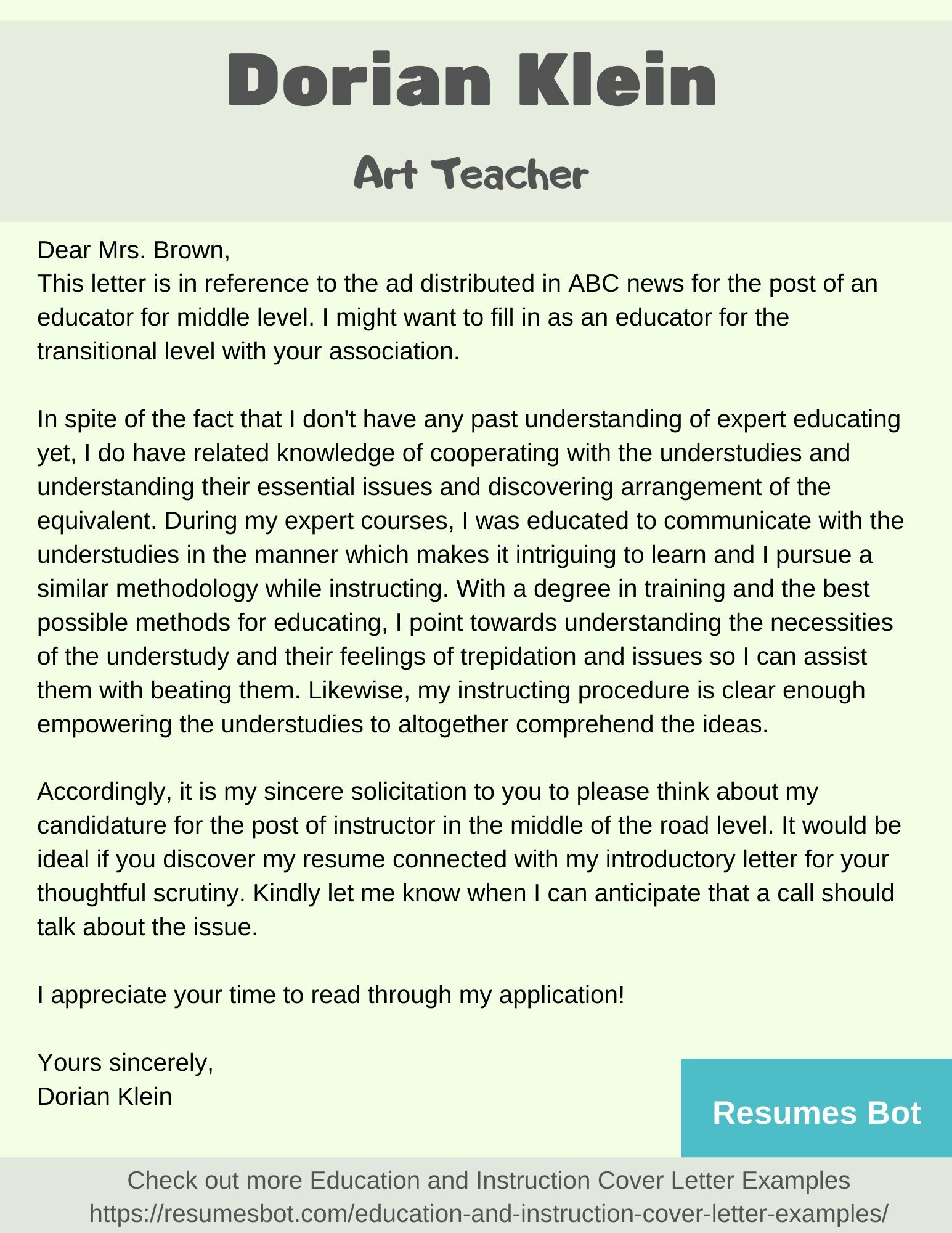 Cover Letter Teaching Examples from resumesbot.com