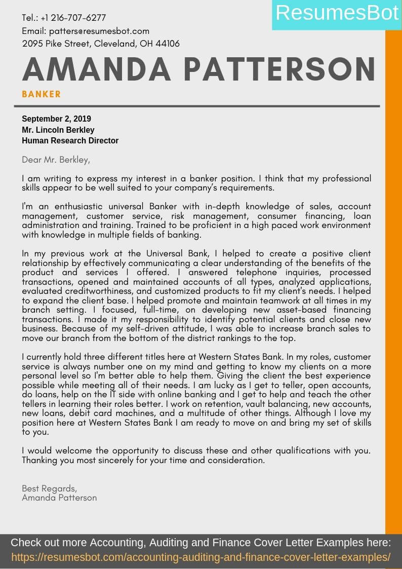 Banker Cover Letter Example