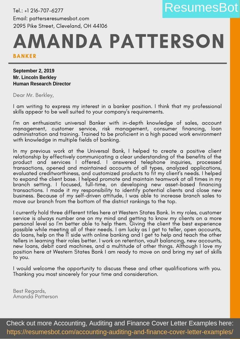 Banker Cover Letter Samples & Templates [PDF+Word] 2019 ...
