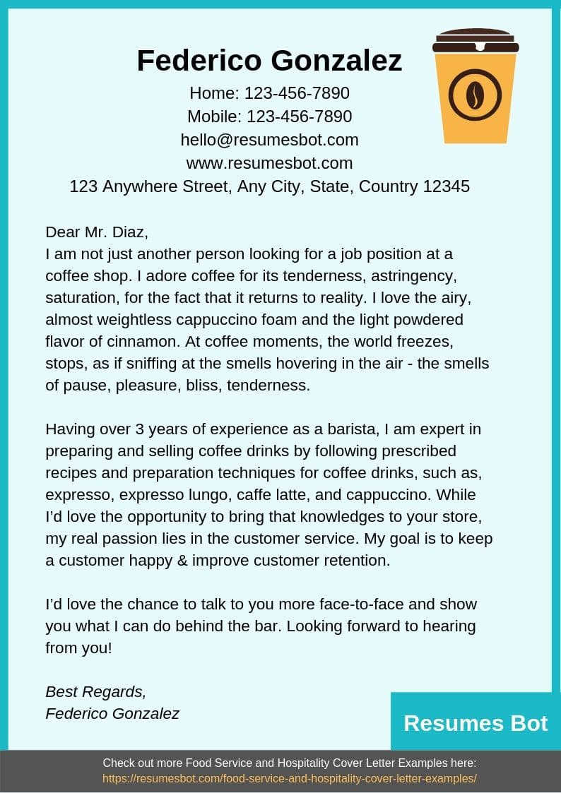 Barista Cover Letter Example