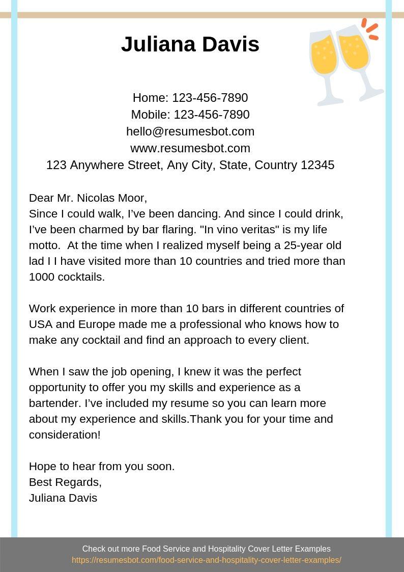 Bartender Cover Letter Example
