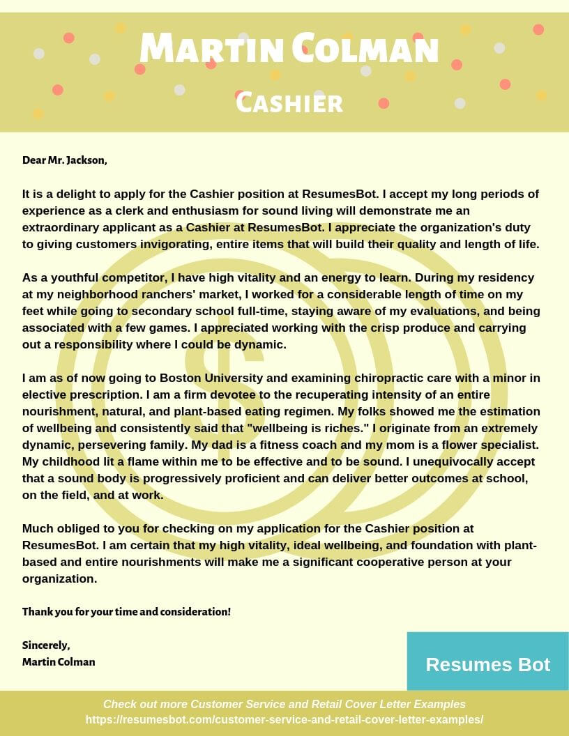 Sample Retail Cover Letter from resumesbot.com