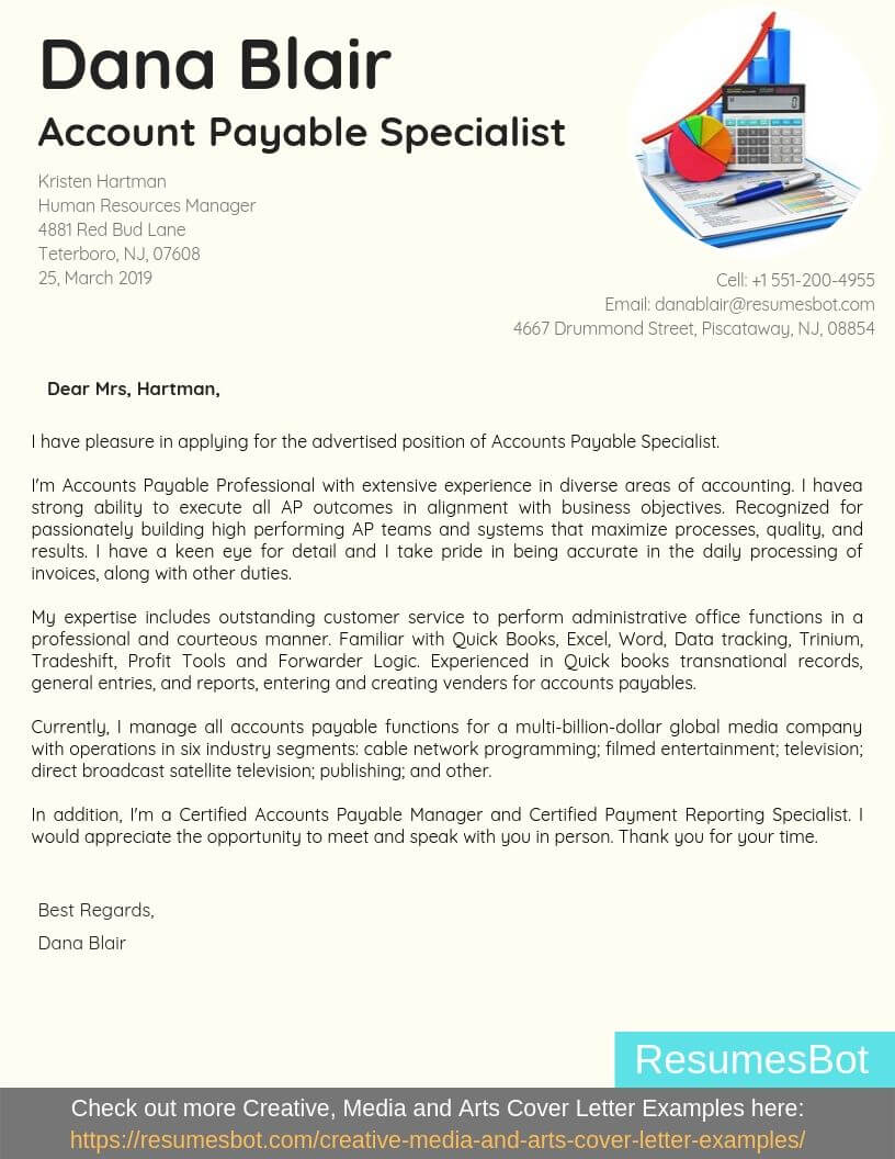Cover Letter Example For Accounts Payable Specialist