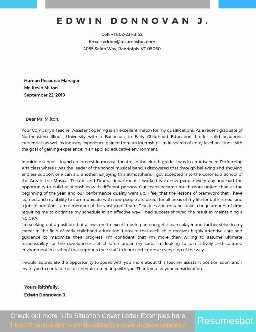 Cover Letter Example For Teacher Assistant With No Experience