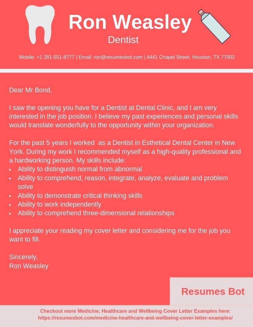 dentist cover letter samples  u0026 templates  pdf word  2020