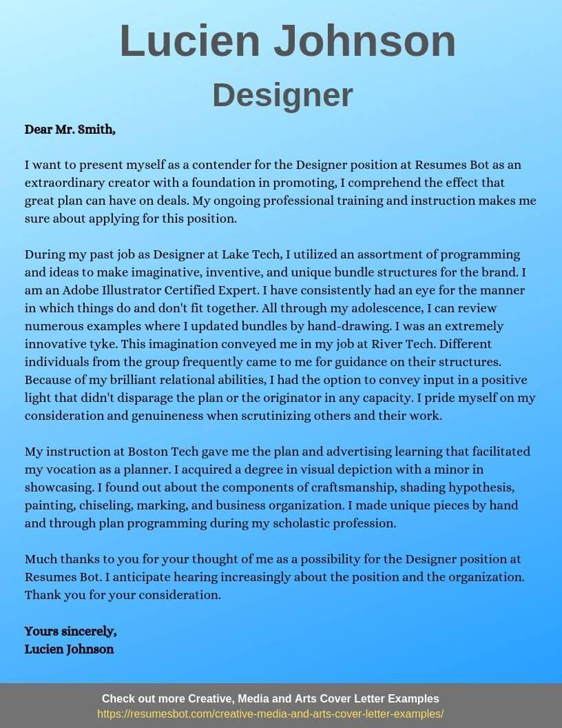Designer Cover Letter Samples Templates Pdf Word 2020 Designer Cover Letters Rb