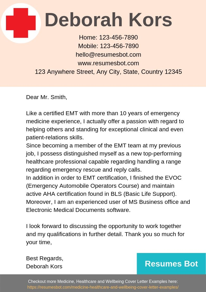 Emt Cover Letter Example