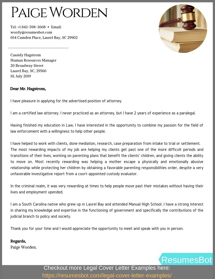 Entry Level Attorney Cover Letter Example