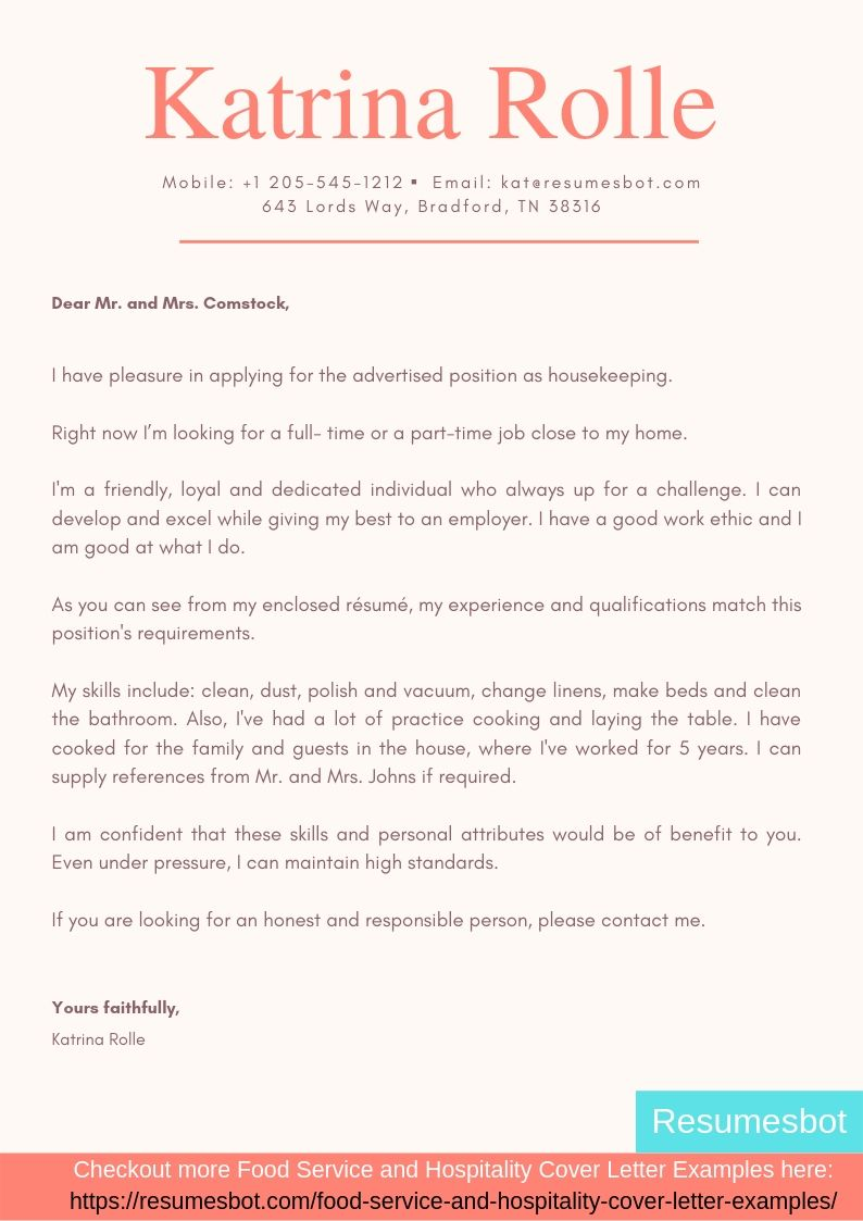 housekeeper cover letter samples  u0026 templates  pdf word
