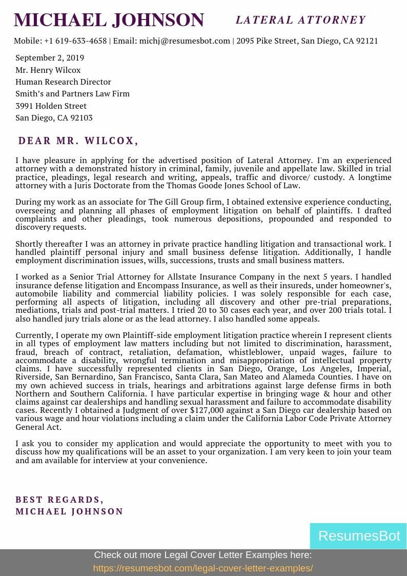 Lateral Attorney Cover Letter Example