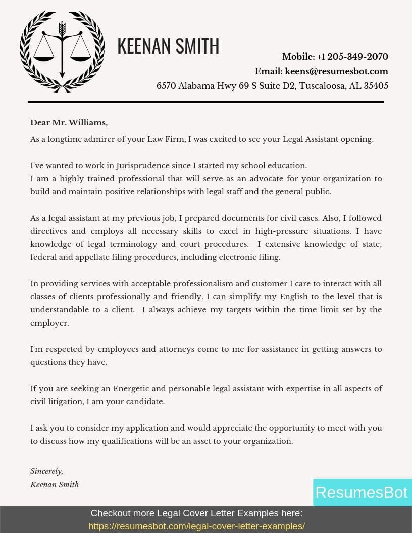 Legal Assistant Cover Letter Samples & Templates [PDF+Word] 2019