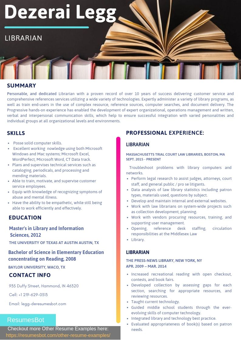 Librarian Resume Samples Templates Pdf Doc 2020 Librarian Resumes Bot