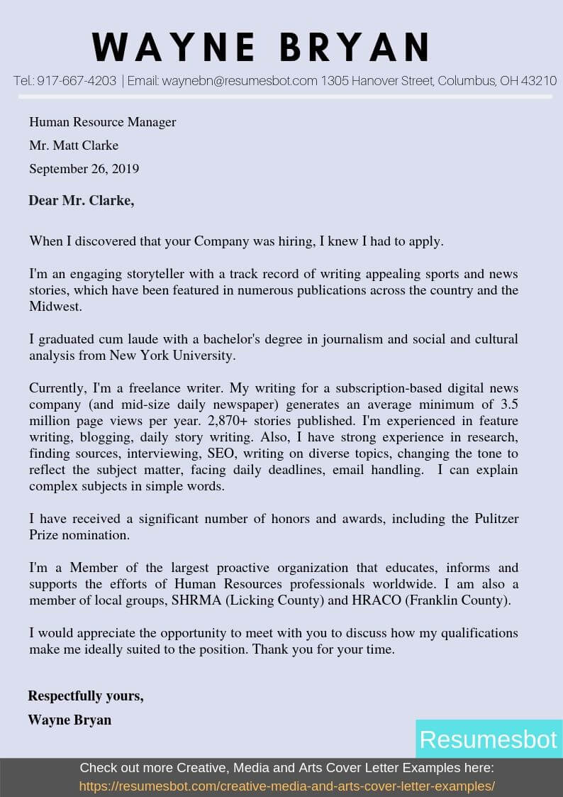 Sports Cover Letter Example from resumesbot.com