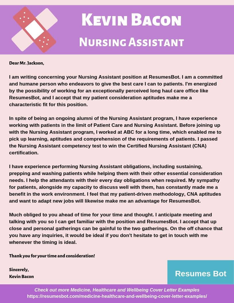 Nursing Assistant Cover Letter Samples Templates Pdf Word