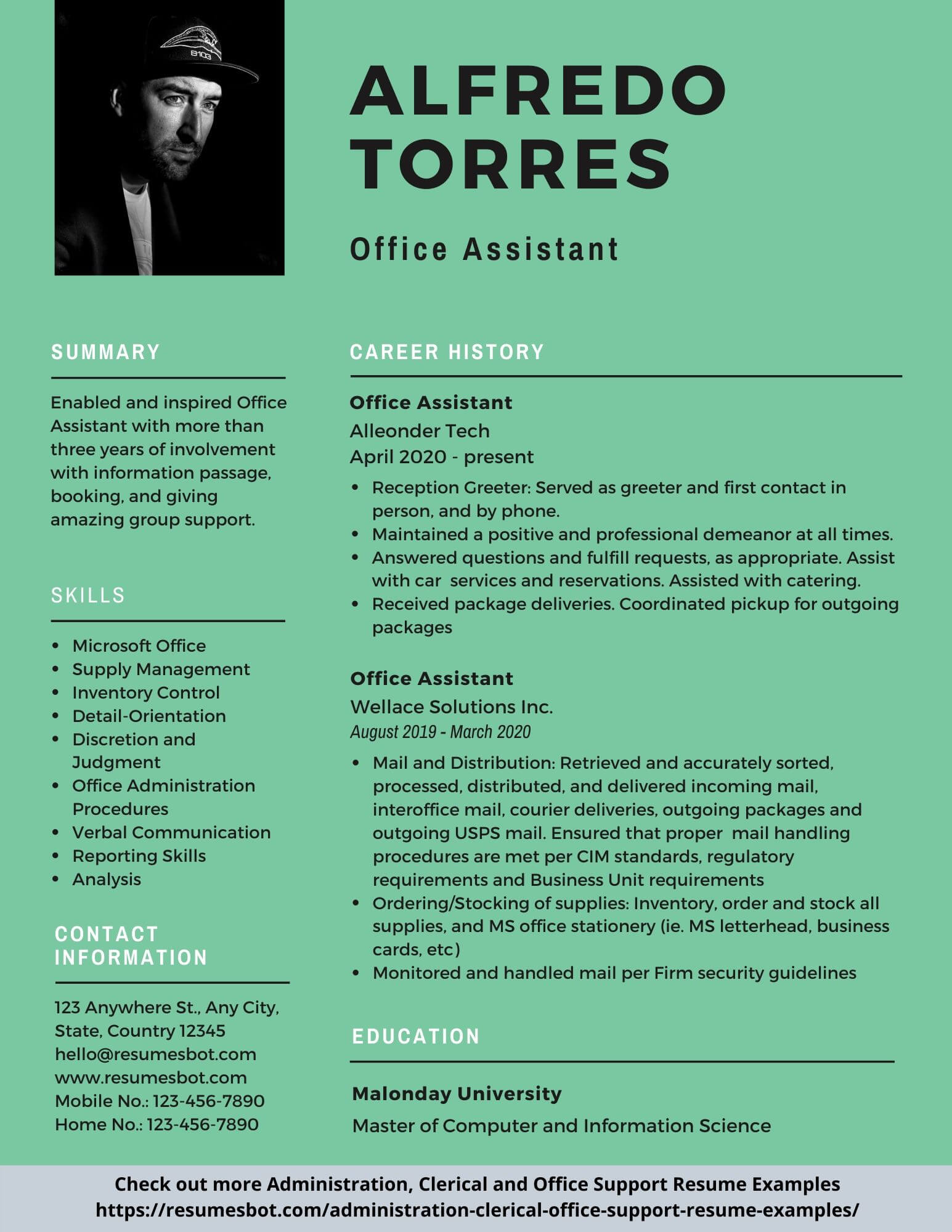 Office Assistant Resume Samples and Tips [PDF+DOC ...
