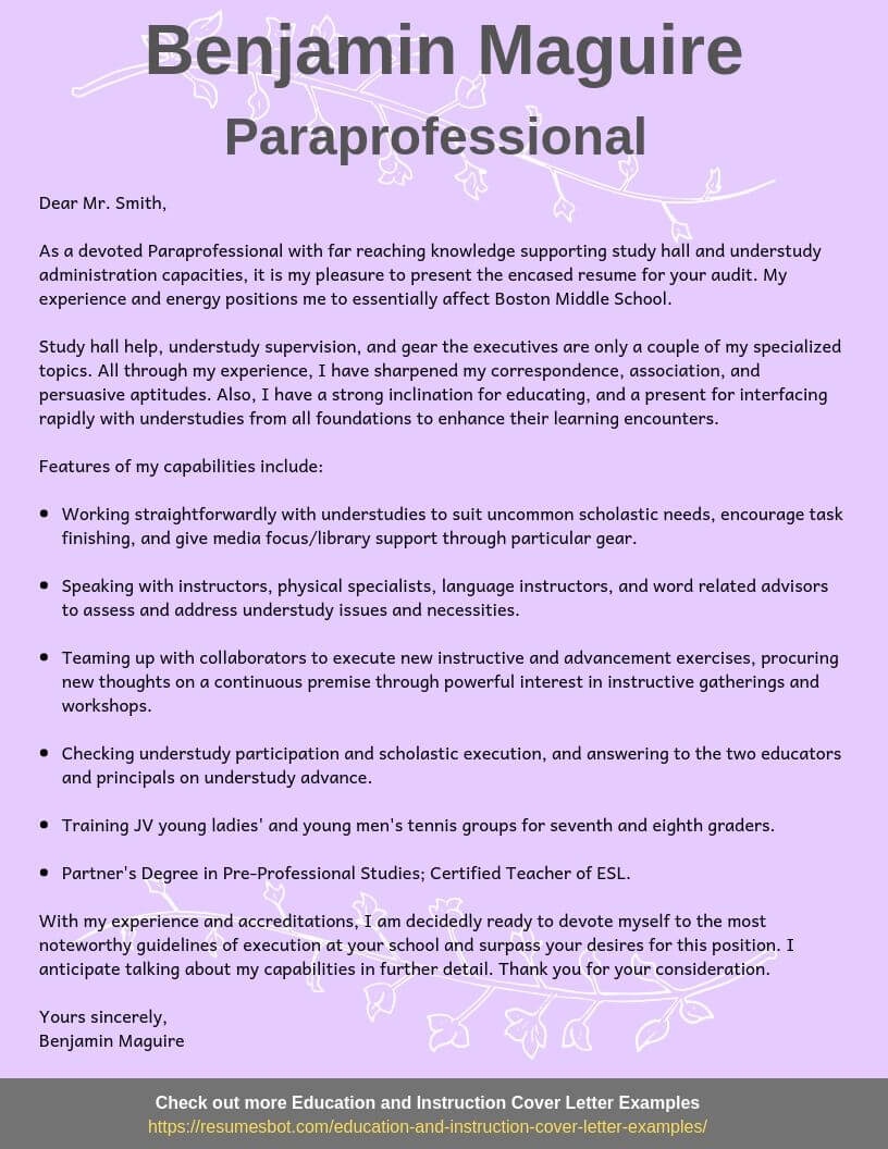 Paraprofessional Cover Letter Samples Templates Pdf Word 2020 Paraprofessional Cover Letters Rb