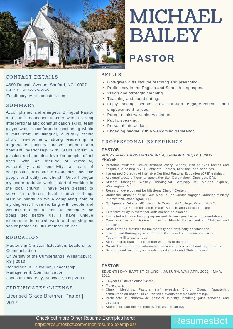 pastor resume samples  u0026 templates  pdf doc  2019