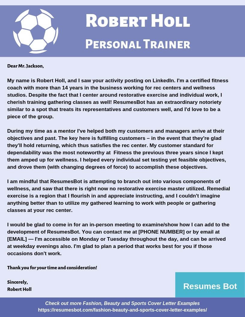 Personal Trainer Cover Letter Example