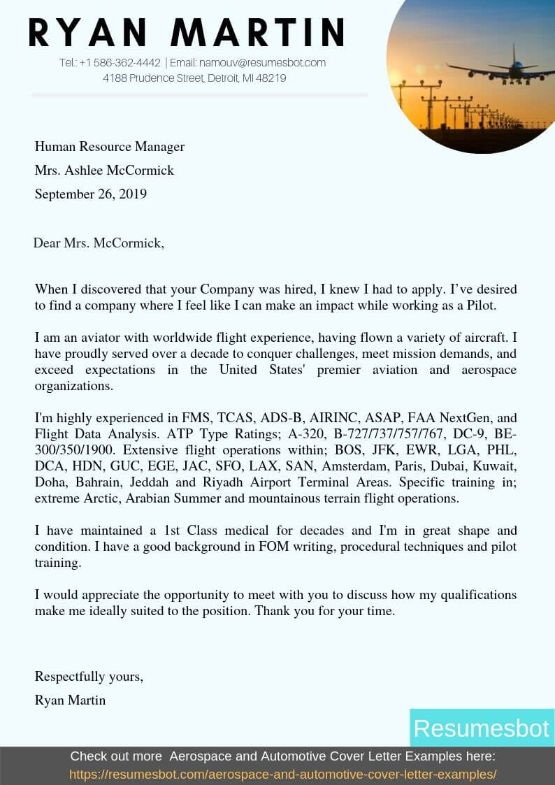 Pilot Cover Letter Samples  U0026 Templates  Pdf Word  2020