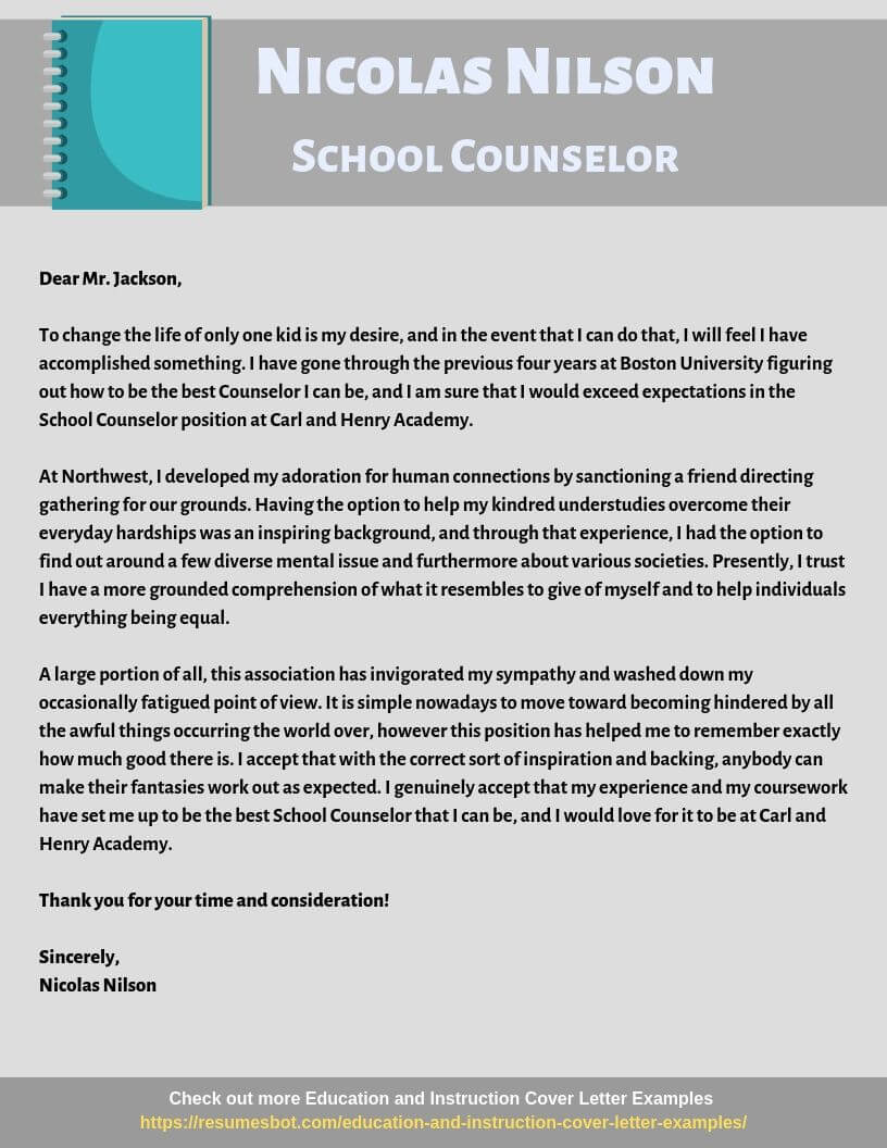 School Counselor Cover Letter Example