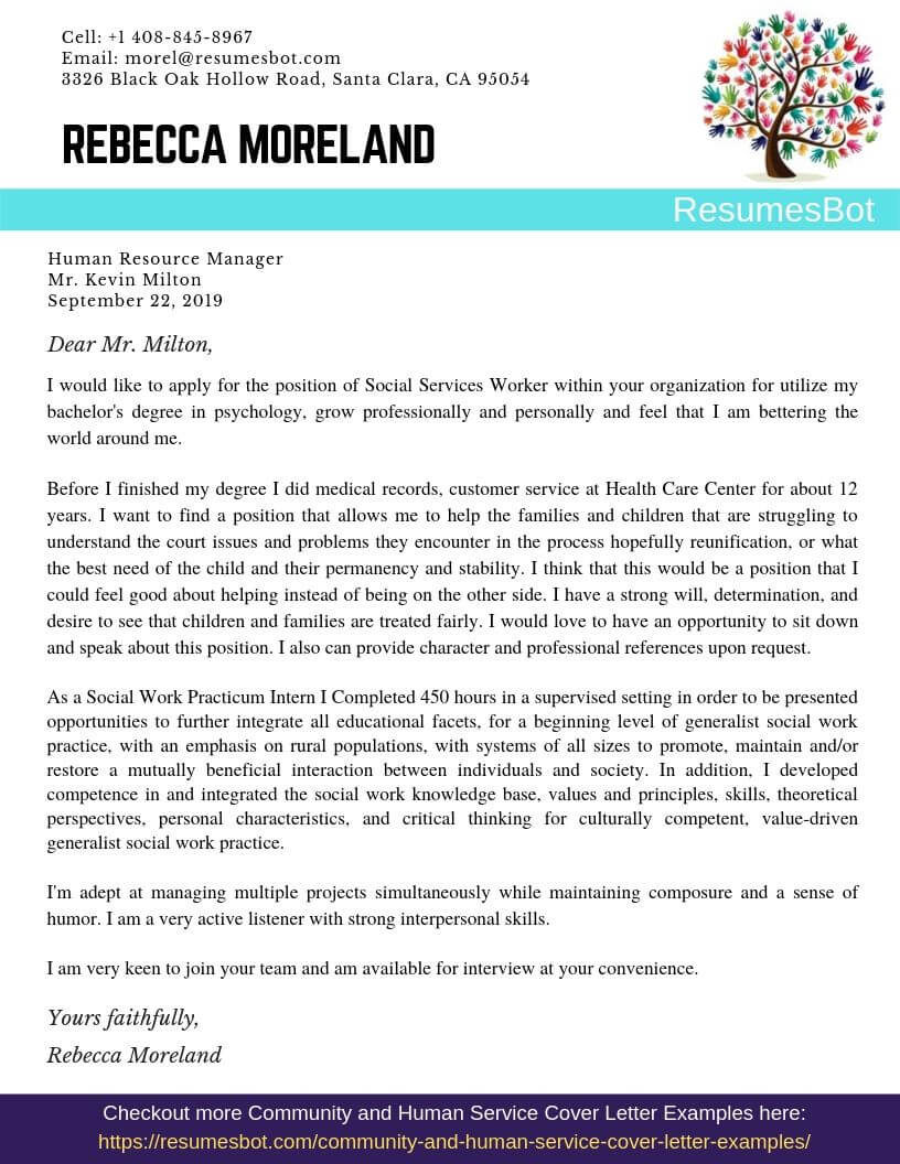 Social Services Worker Cover Letter Sample