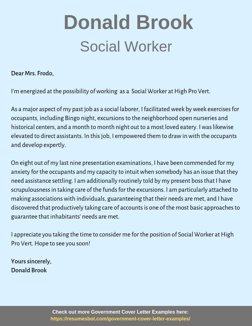 Cover Letter Social Work from resumesbot.com