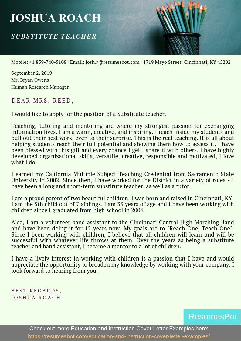 Substitute Teacher Cover Letter Example