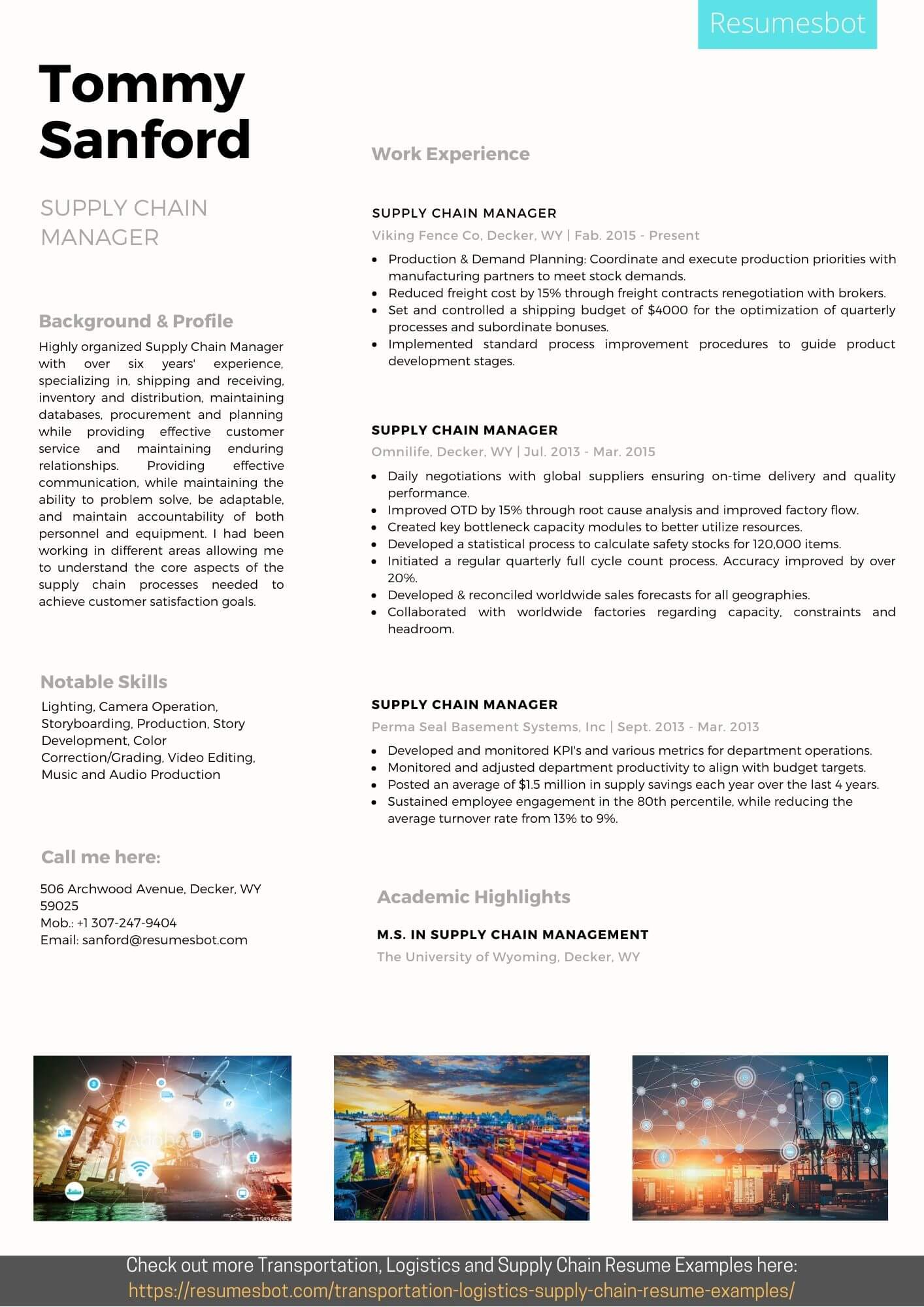 supply chain manager resume samples and tips  pdf doc