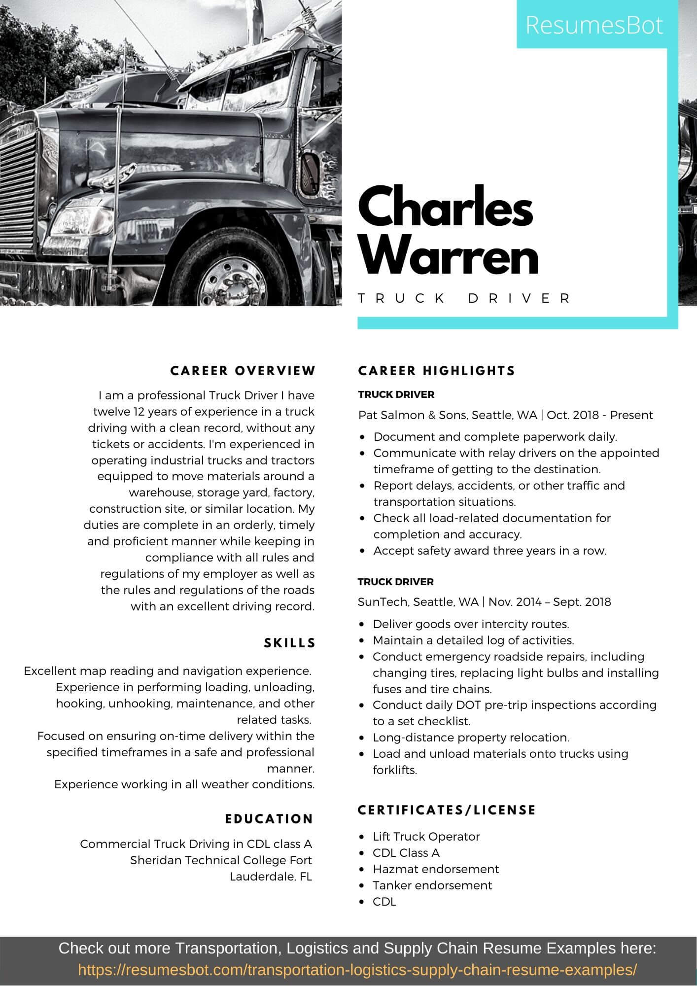 Truck Driver Resume Samples And Tips Pdf Doc Resumes Bot