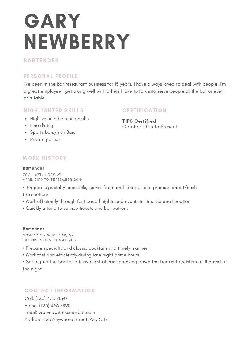 Bartender Resume Samples And Tips Pdf Doc Templates 2020