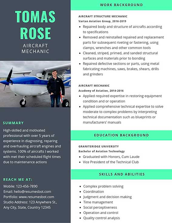 Aircraft Mechanic Resume: Example and Tips
