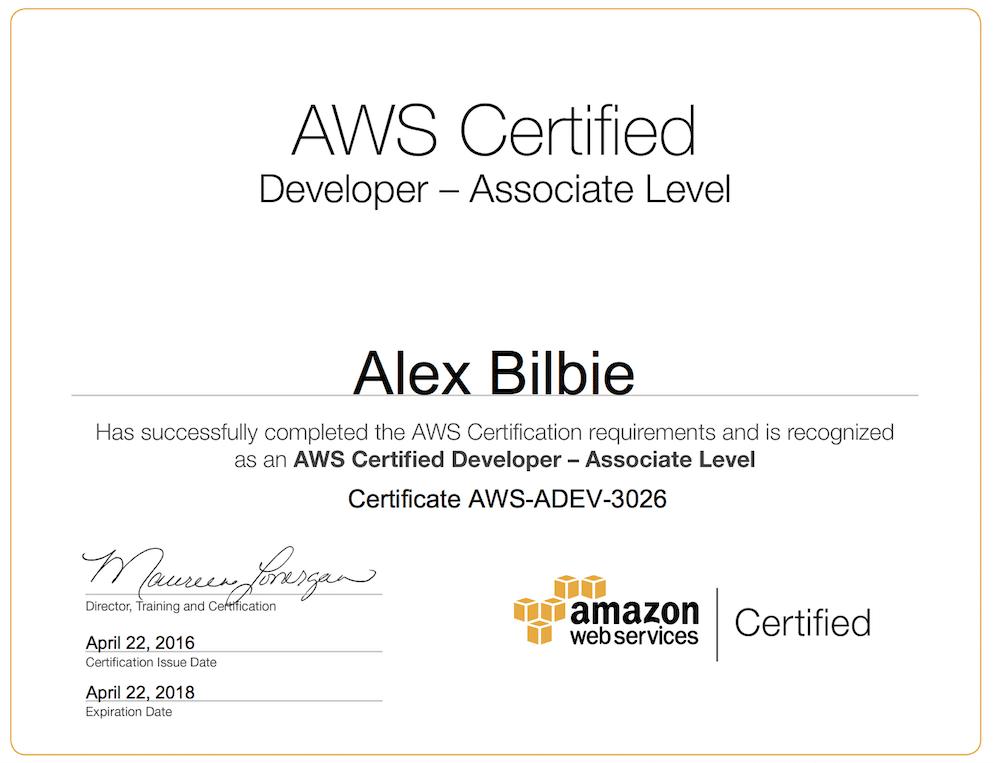 example of amazone web developer certificate
