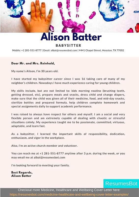 Babysitter Cover Letter Samples Amp Templates Pdf Word