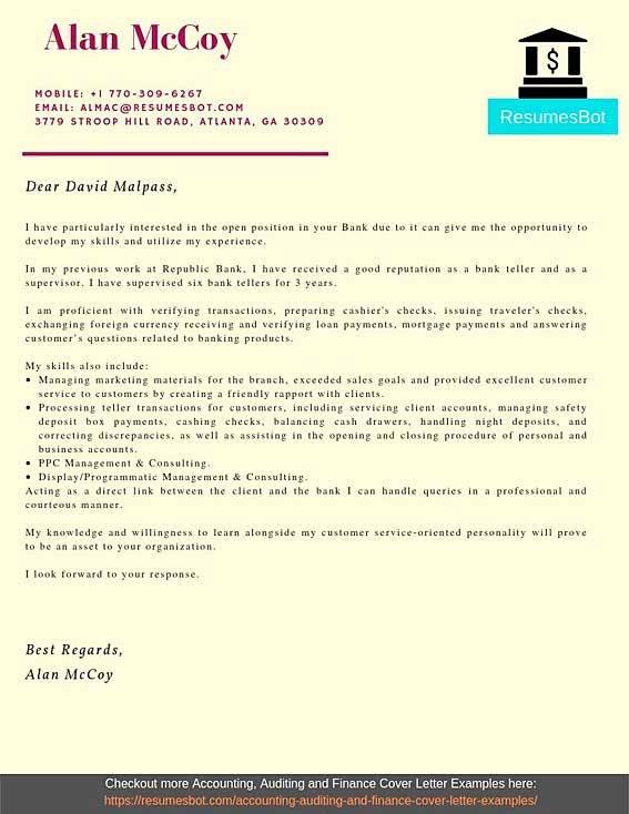 cover letter for bank teller position sample