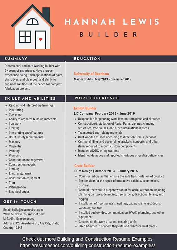 builder resume samples  u0026 templates  pdf doc  2020