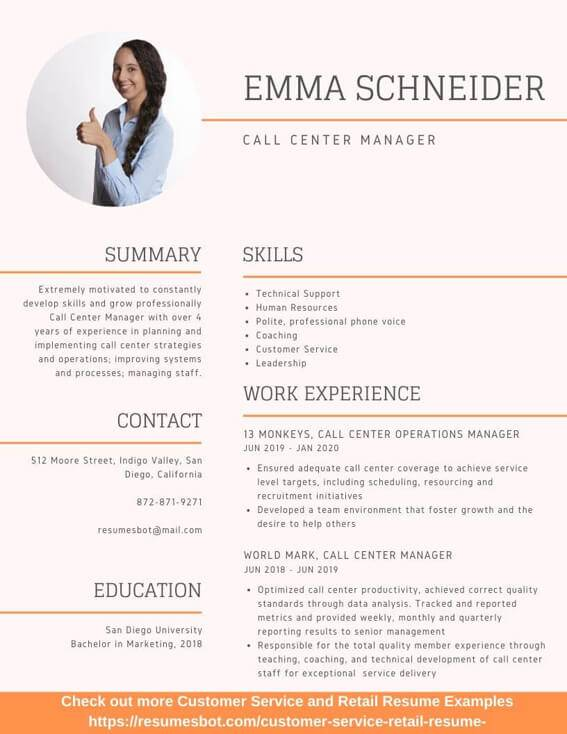 Call Center Manager Resume Samples And Tips Pdf Doc Resumes Bot