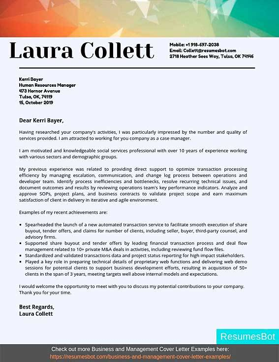 Case Manager Cover Letter Example
