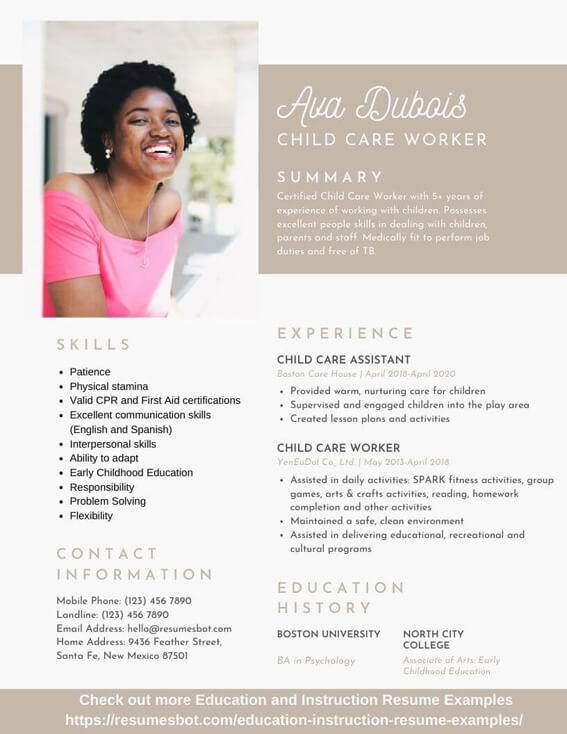 Child Care Resume Samples And Tips Pdf Doc Resumes Bot
