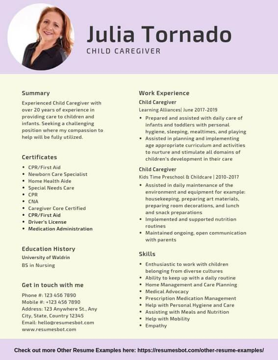 Child Caregiver Resume Example