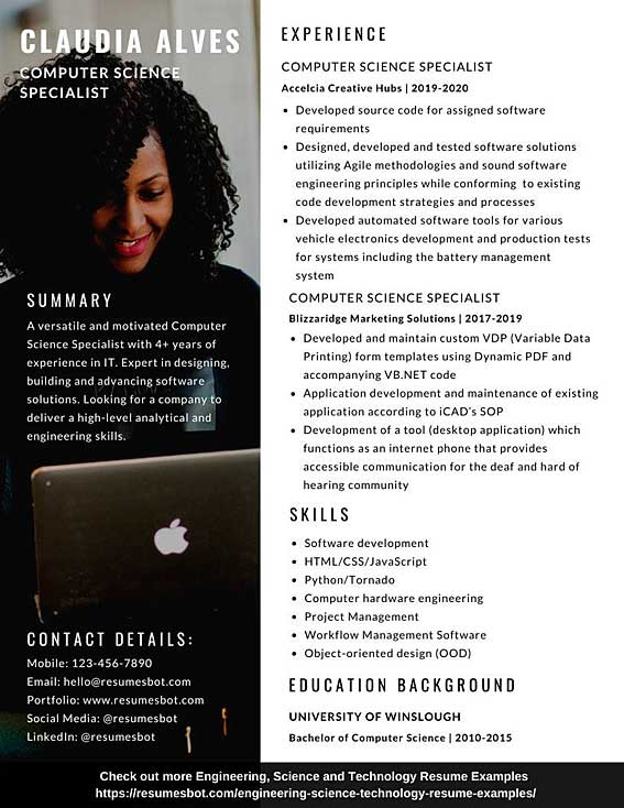 computer science resume samples and tips  pdf doc