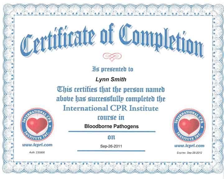 Bloodborne Pathogen Certification