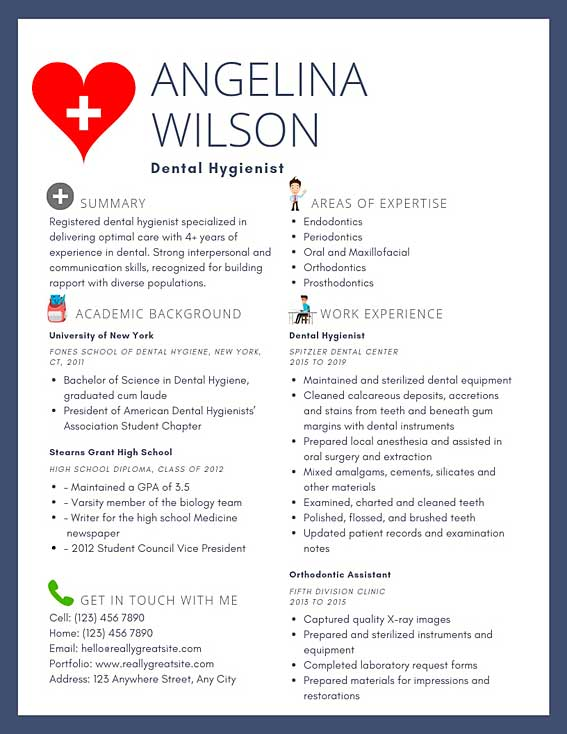dental hygienist resume samples  u0026 templates  pdf word