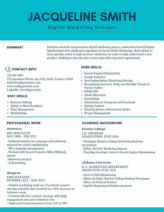 Digital Marketing Manager Resume Samples Amp Templates Pdf