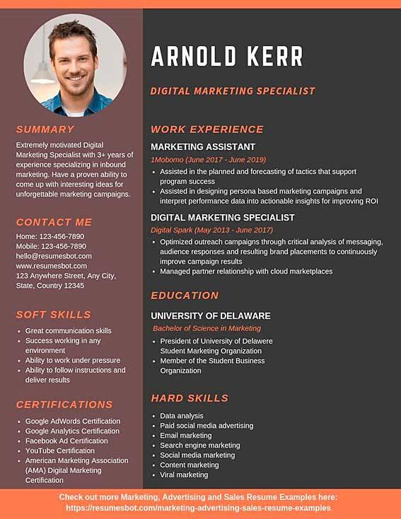 digital marketing specialist resume samples  u0026 templates