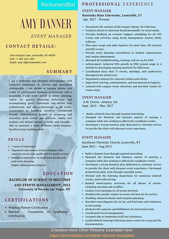Event Manager Resume Samples Templates Pdf Doc 2020 Event Manager Resumes Bot